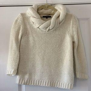 Tibi Cream Braided Neck 3/4 Sleeve Sweater